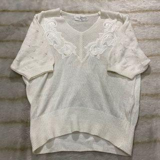 white knit top