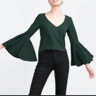 Zara Dark Green Bell Sleeves Top