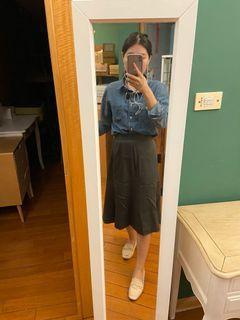 墨綠中長裙