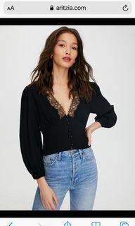 #Aritzia Romance me blouse, Black, M