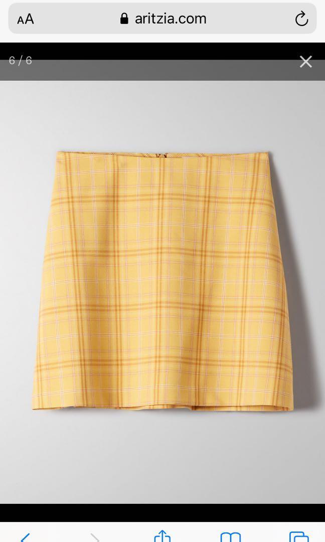 #Aritzia Skirt, wilfred Isabella, brown plaid, Size 10