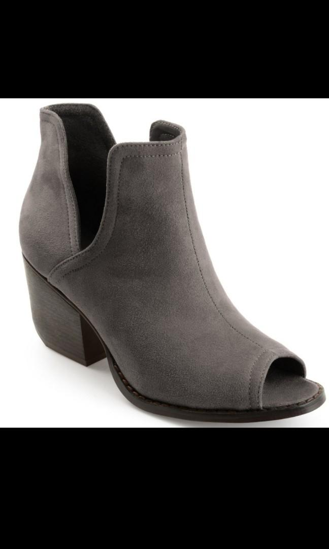 Faux Suede Side-slit Peep-toe Ankle Booties