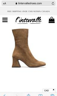L'intervale Suede boots, Olive beige, size 39