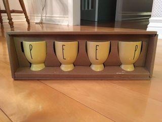 Rae Dunn Peep Egg Cups Set in Yellow (New)
