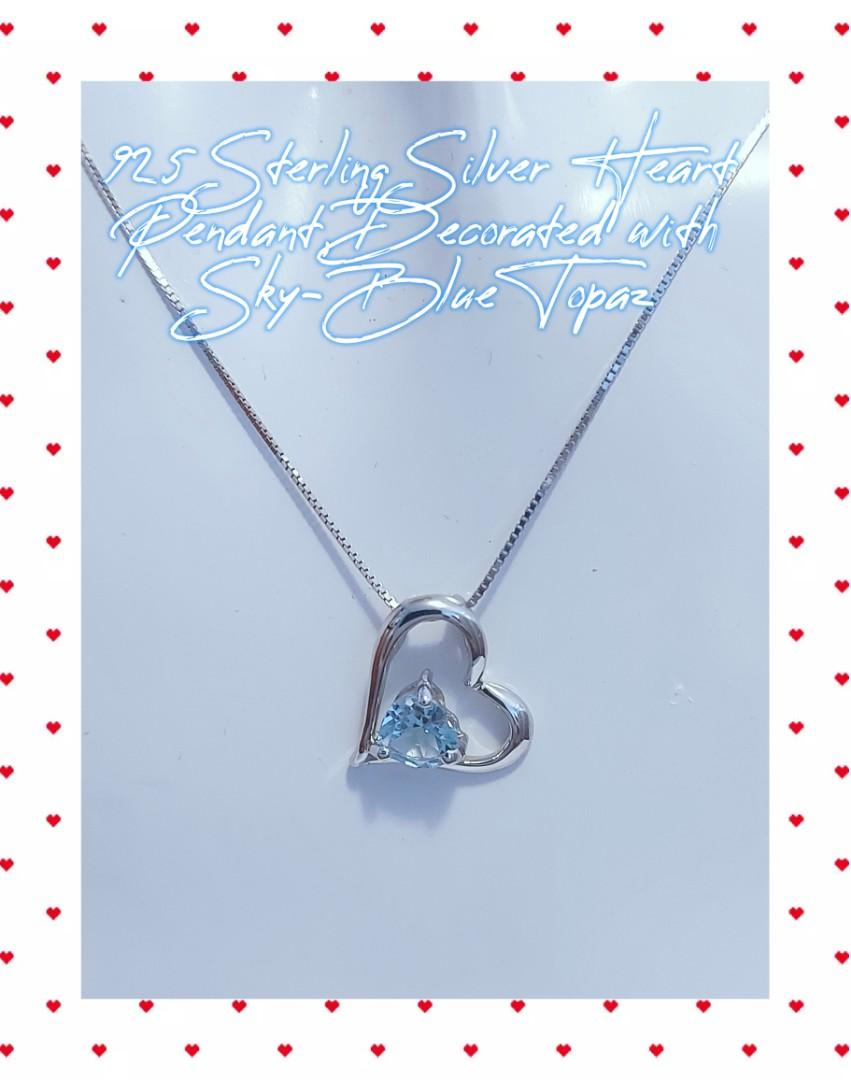 925 Sterling Silver Heart Pendant, Decorated with Sky-Blue Topaz
