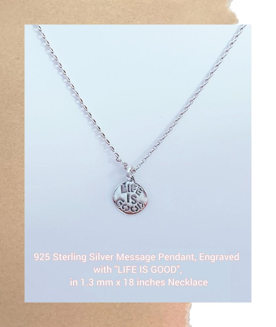"925 Sterling Silver Message Pendant, Engraved with ""LIFE IS GOOD"",  in 1.3 mm x 18 inches Necklace"