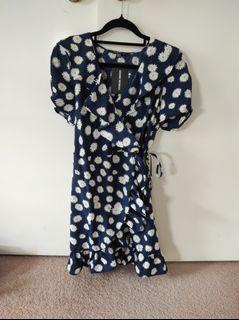 Blue daisy wrap dress