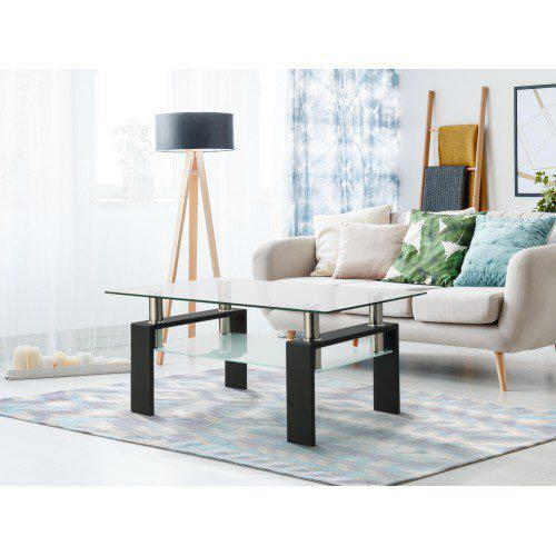Double levelled temper glass coffee table