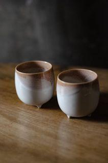 Footed Stoneware Cups