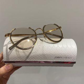 Jimmy Choo light gold glitter round-eye sunglasses