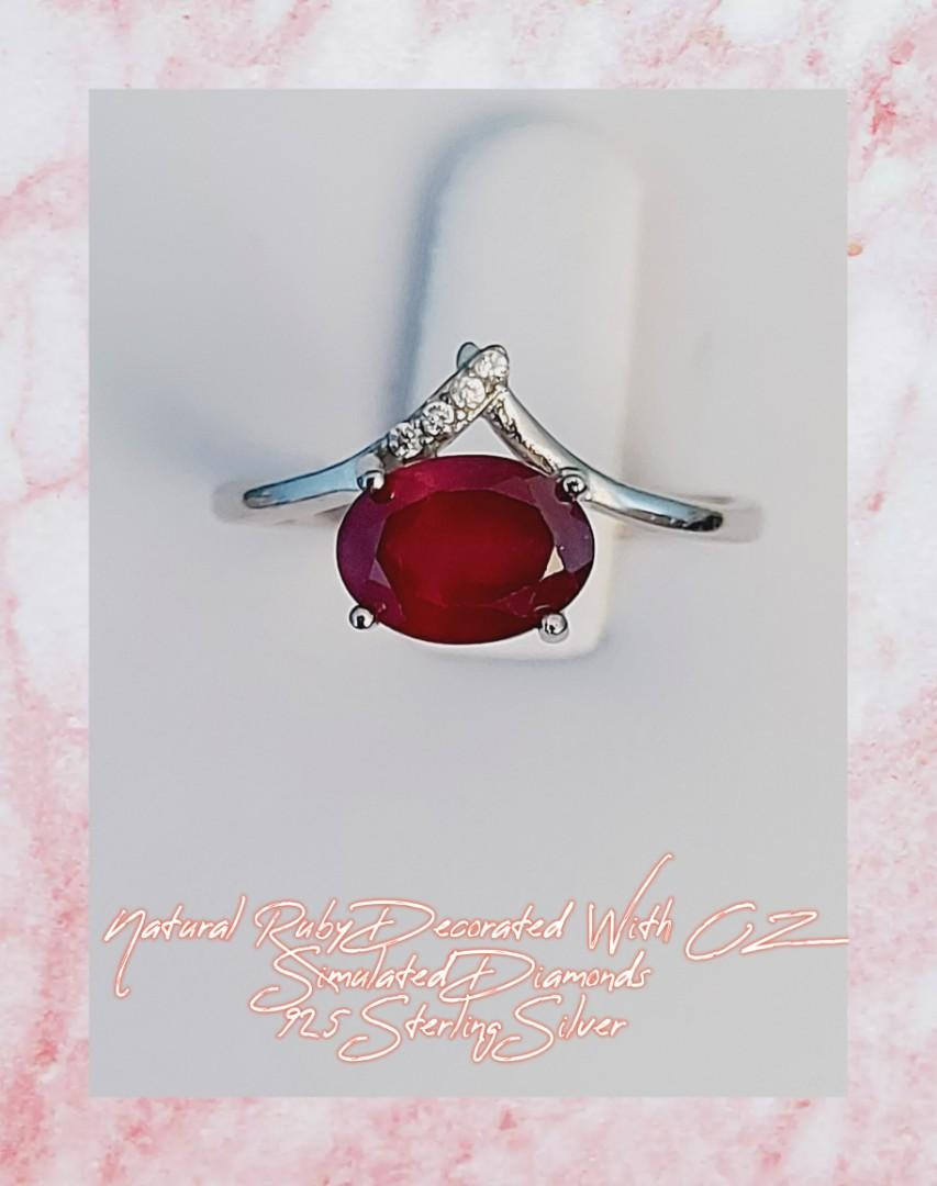 Natural Ruby Ring Decorated With CZ Simulated Diamonds, 925 Sterling Silver