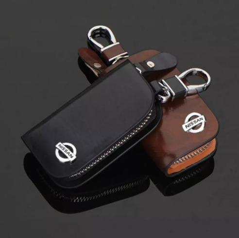 Nissan Car Smart Keyless Remote Key Leather Wallet Pouch Black and Brown