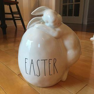 Rae Dunn large ceramic Easter egg with bunny (New)