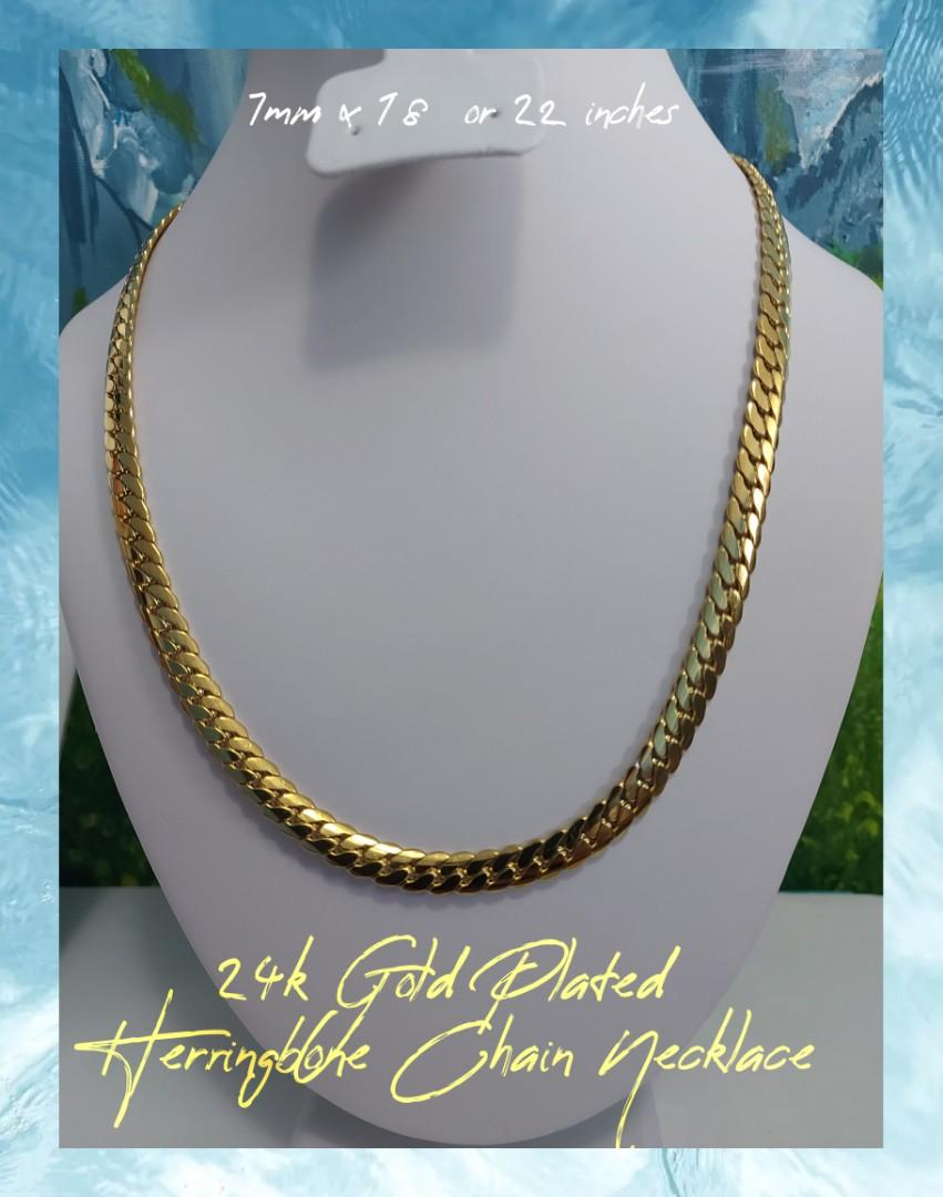 24k Gold Plated Herringbone Chain Necklace