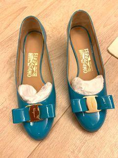 義大利精品水藍色平底鞋