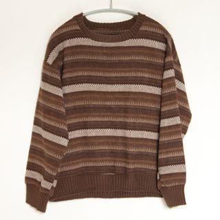 古著 絨感 編織 花紋 長袖 T恤 針織 毛衣