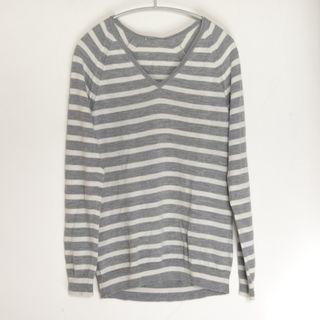 純羊毛 美麗諾羊毛 灰色白 條紋 V領 長袖 針織 薄毛衣