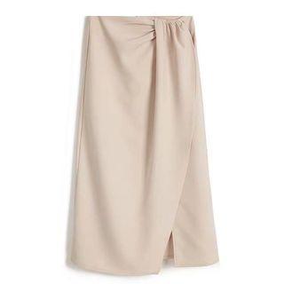 全新 Uniqlo GU 款式 文青 米杏色 斯文西裝料半身裙