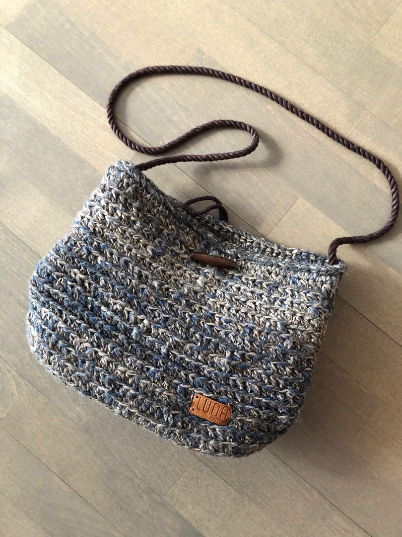Handmade knit crossbody bag