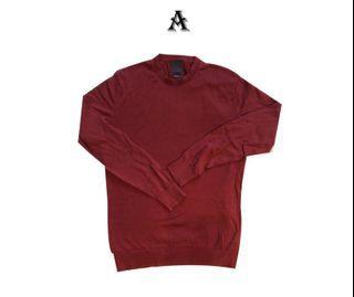 【H&M】紅色針織素t/sweater/long sleeves/薄長袖-近全新