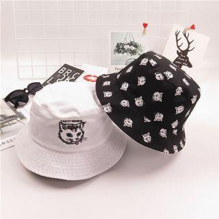 [MUSI創意玩星球] 日系 休閒 雙面戴 黑白色 貓咪 盆帽 漁夫帽 遮陽帽 潮流帽 帽子