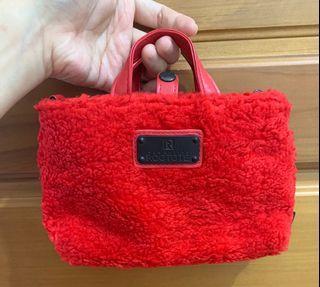 Rootote紅色斜背包-小方包-化妝包-萬用包