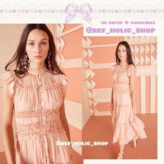 Ulla Johnson Rosalind Tiered Ruffle Button-Front Midi Dress in Midnight & Blush |Silk