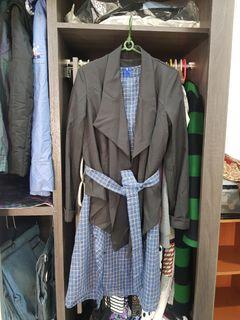 Zara. H&M 韓風 一套組短格子洋裝+西裝外套