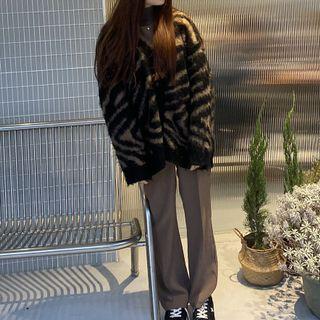 長版斑馬紋毛衣