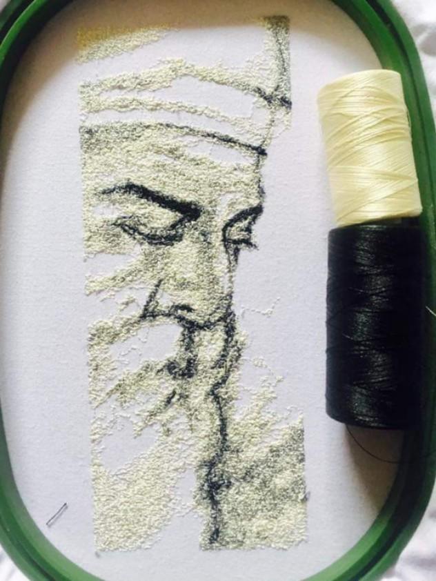 Baba Nanak- embroidery portrait.