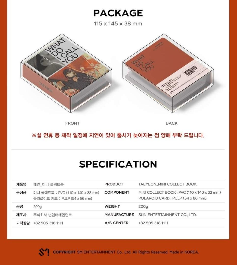 #PREORDER TAEYEON What Do I Call You - MINI COLLECT BOOK