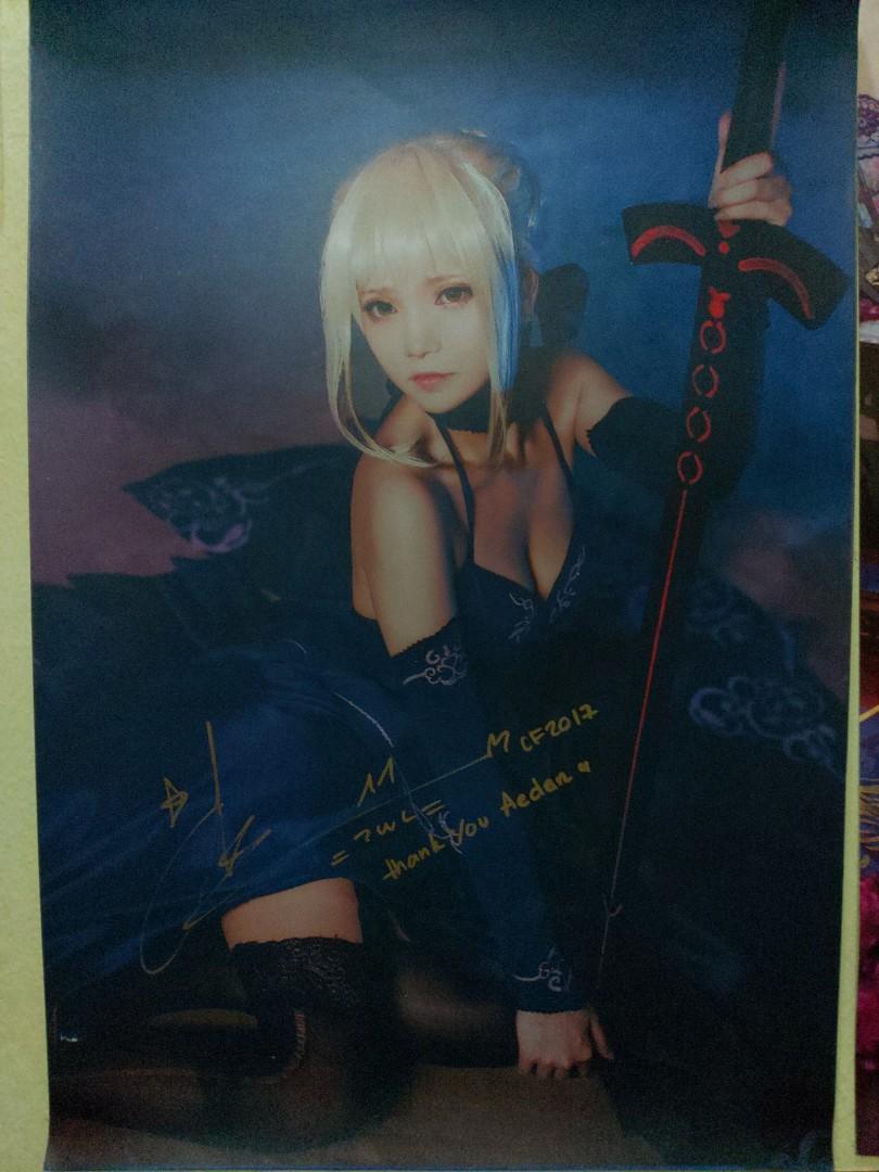 Signed Miu Cosplayer poster Saber Alter