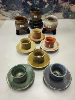 """1-早期90年代-台灣本土陶藝家*劉老師的6色""""還原燒""""品茗杯盤套組*"""