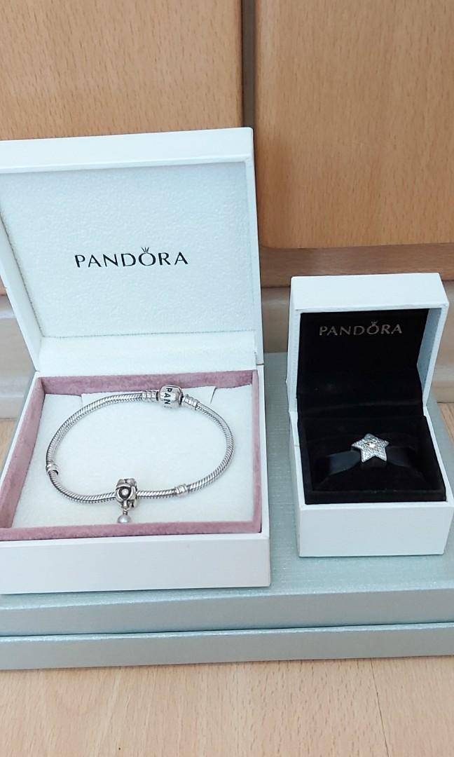 3 Items Authentic New Pandora Star Charm And Used Bracelet With An Additional Dangling Charm Women S Fashion Jewellery Bracelets On Carousell
