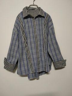 ●最後出清●格紋拼接反折袖襯衫