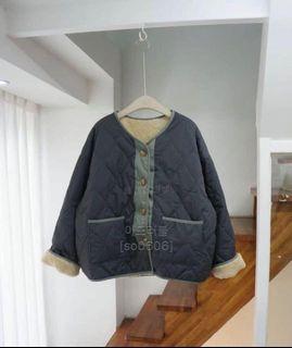 韓國菱格外套灰藍色