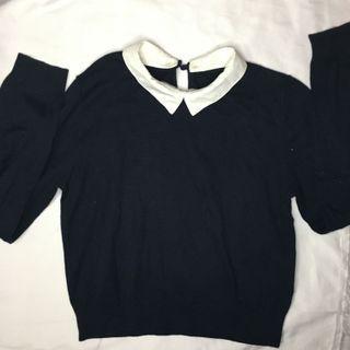 Atasan rajut biru donker/ knit collar top