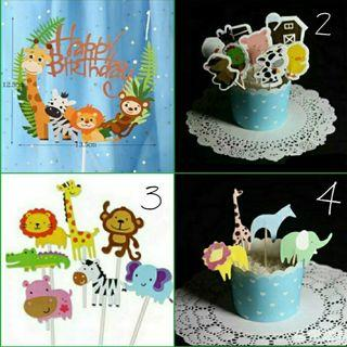Birthday Party cake topper: Animal theme Cupcake toppers