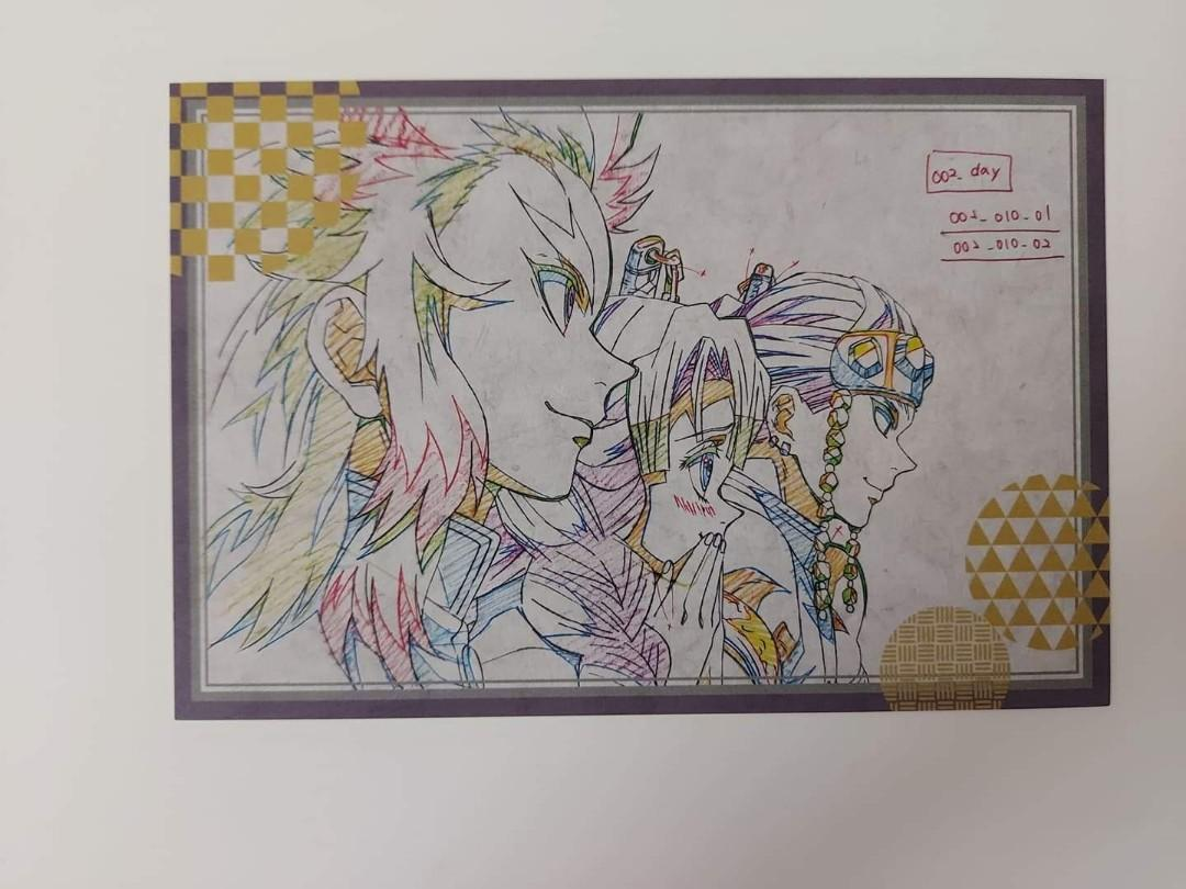 Kimetsu No Yaiba Demon Slayer Rengoku, Mitsuri Kanroji, Tengen Uzui original animation drawing Genga postcard