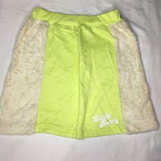 Rok mini hijau bulu/ fluffy fur mini skirt