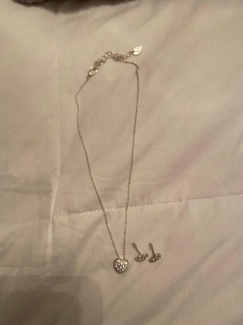 Sparkly Heart Necklace and Earrings Set