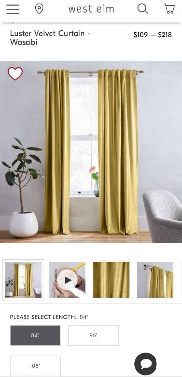 West Elm Luster Velvet Curtains 96""