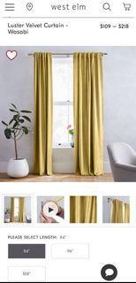 """West Elm Luster Velvet Curtains 96"""""""