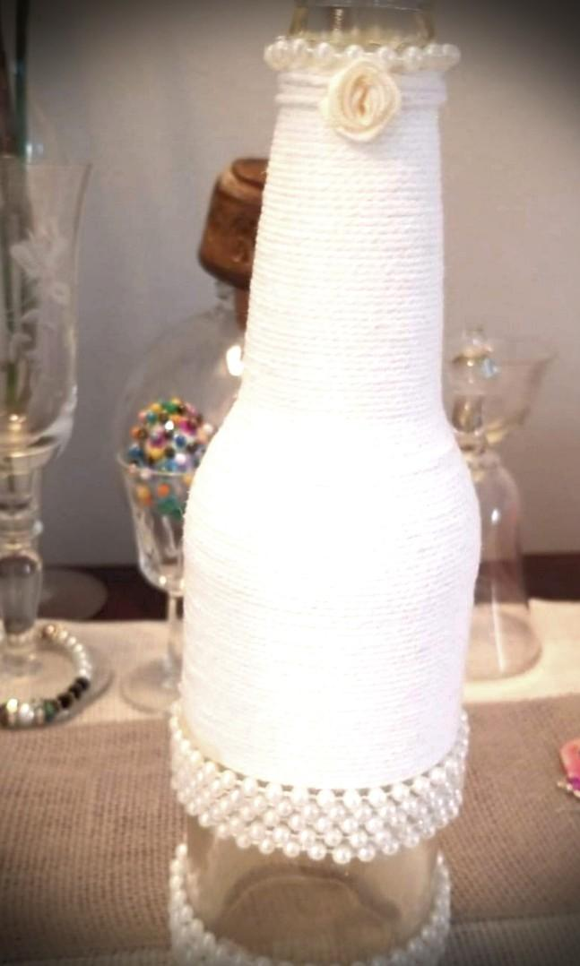 White jute/twine  wrapped art bottle