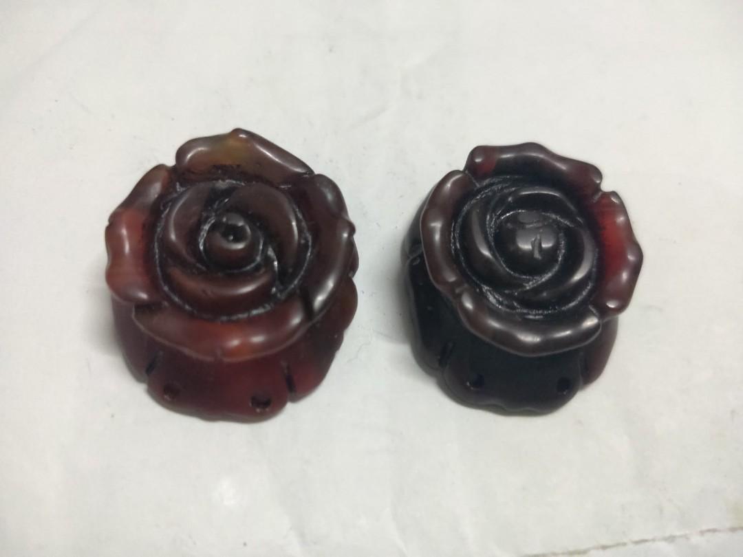 玫瑰花紅玉髓二個一組