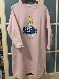 韓貨愛麗絲粉紅長版內刷毛上衣洋裝