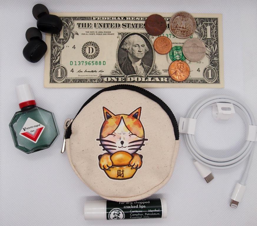 貪財的貓 / 矯情的貓 帆布 圓形零錢包