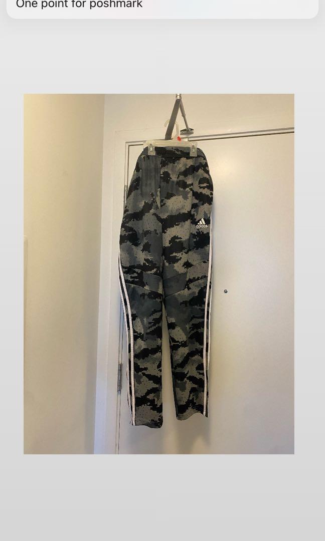 Adidas gray men's large camo tiro track pants