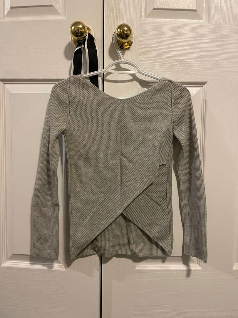 Babaton grey knit sweater with cross back detail. XXS