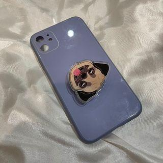 GLASS CASE IPHONE 11 WITH PUG POP SOCKET